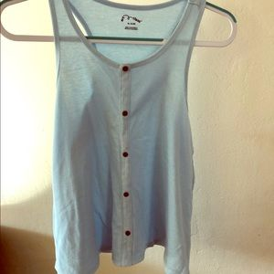 Pastel Blue Button Up Tank Top